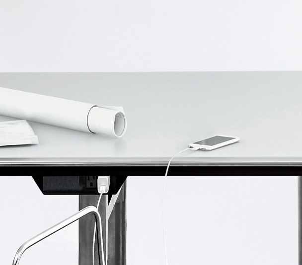 Technology undermount is located below the table top