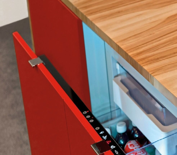 Cool drawer is built into the credenza