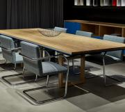 Highline Conference Table with Wood Legs and Leather Wrapped Edge Detail